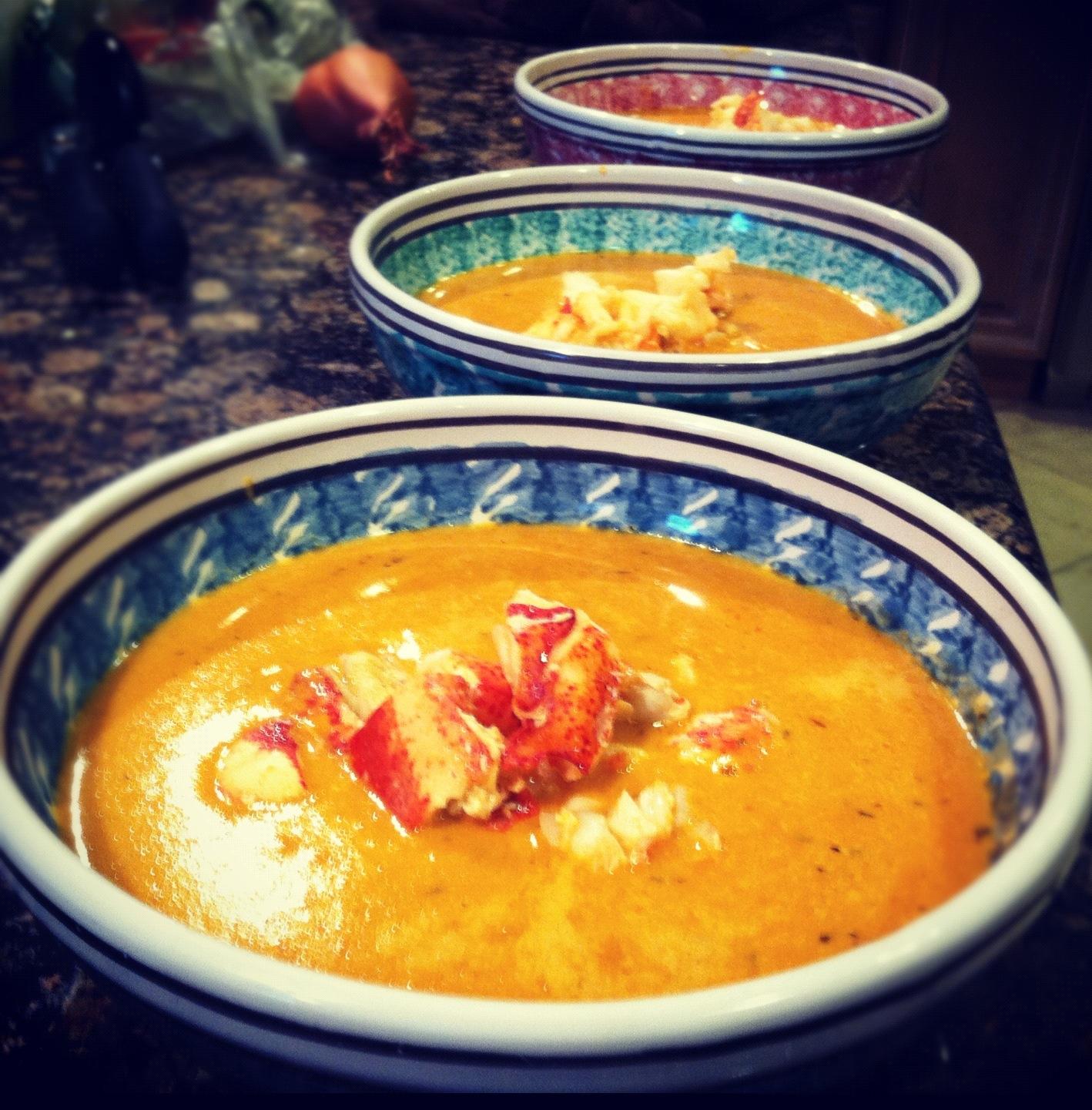 Lobster Bisque Recipes: Lobster Bisque, Focaccia & Arugula Salad