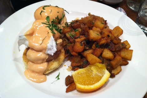 Benedict Johnny - Chicken Sausage, Cornbread, Roasted Tomato Hollandaise and Hash Browns