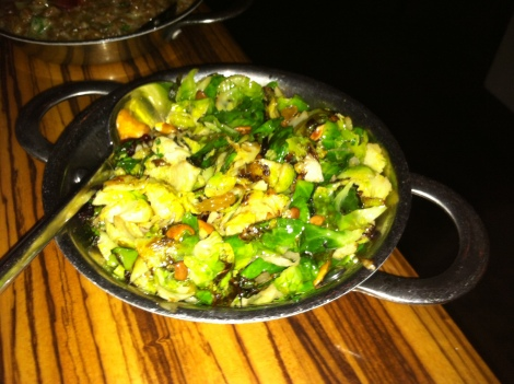 Toasted Brussel Sprout Leaves, Toasted Hazelnuts, Pinenuts, Almonds, Pumpkin Seeds, Dried Cranberries and Raisins