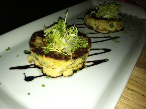 Maryland Crab Cakes-- Jumbo Lump Crab Meat, Trio of Bell Peppers, Red Onions Chives, Balsamic Glaze, Chipotle Aioli, Lemon Oil