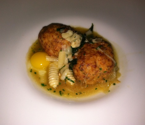 Spicy Duck Meatball, Mint Cavatelli, Quail Egg, and Spinach