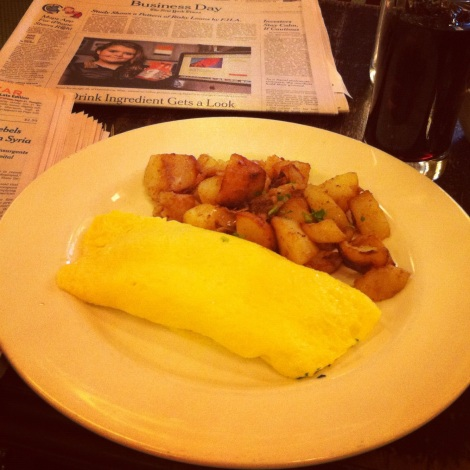 Omelette with Herbs and Gruyere, Hash Browns