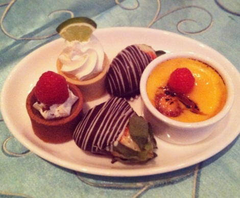 Chocolate Mousse Tart with Raspberry, Key Lime Pie, Chocolate Covered Strawberries, Creme Brulee