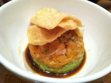 Salmon and Avocado Tartare, Soy-Wasabi Citronette, Wonton Crisps