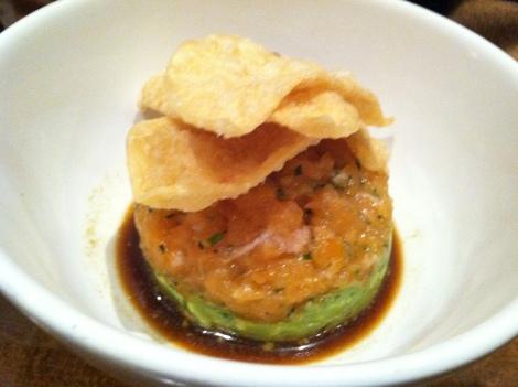 Salmon and Avocado Tartare, Soy-Wasabi Citronette, Wonton Crisps