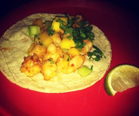 Shrimp Taco, Garlic, Chile Marinade, Mango and Chipotle Sauce