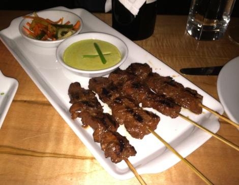 Grilled Beef Skewers, Grilled Pineapple, Jicama & Jalapeno Slaw, Thai Basil Dip