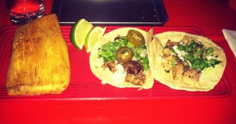 Mole Tamale, Carnitas Taco, Barbacoa Taco
