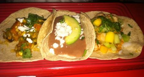 Vegetable Taco, Bean & Avocado Taco, Shrimp Taco