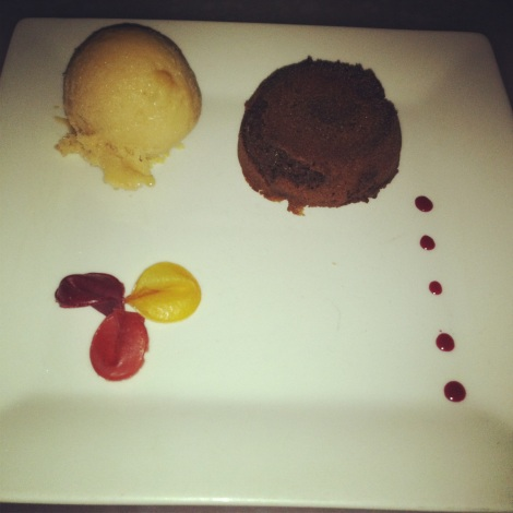 Chocolate Beet Cake, Pear Sorbet, Beet Caramel, Beet and Pear Leather