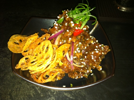 Spicy Crispy Beef, Lotus Chips, Red Onions