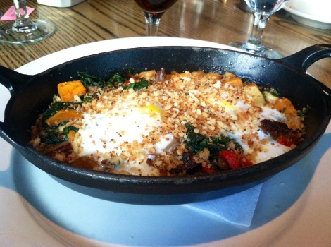 Duck Confit Hash - Baked Eggs, Sweet Potatoes, Spinach, Red Peppers, Duck Confit, Bread Crumbs
