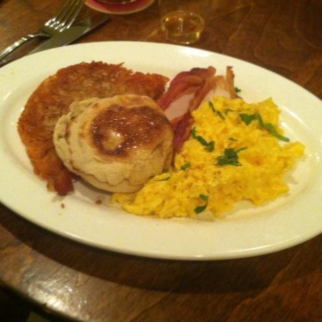 Soft Scrambled Eggs, Parsley, Smoked Bacon, English Muffin, and Potato Rossi