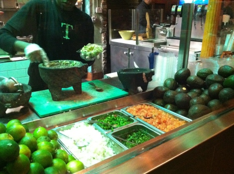 Freshly Made Guacamole Station, Served in Plastic Containers