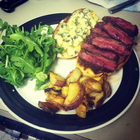 hanger steak and potatoes