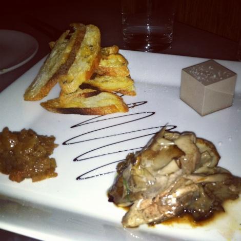 Truffle Toast, Portobello Mousse with Sea Salt, Shaved Portobello, Pear and Fennel Compote, Balsamic Drizzle