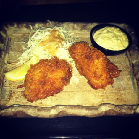 Kaki Fry – Panko Fried Oysters with Housemade Tartar Sauce, Cabbage with Ginger Sauce