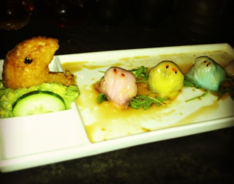 "Pacman Dumplings - Sweet Potato ""Pacman"", Lobster, Shrimp, Blue Crab and Bean Sprout Dumplings, Mashed Avocado"