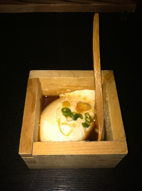 Freshly-Made Scooped Chilled Tofu with Wari Joyu, Ginger and Scallions