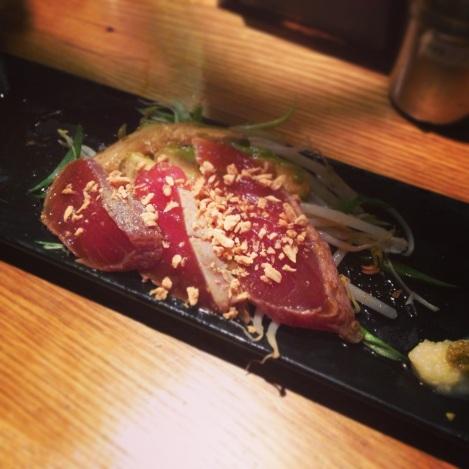 Avo Tuna - Torched Tuna Sashimi, Avocado Marinated in Special Yuzu Garlic Sauce, Bean Sprouts, Scallions