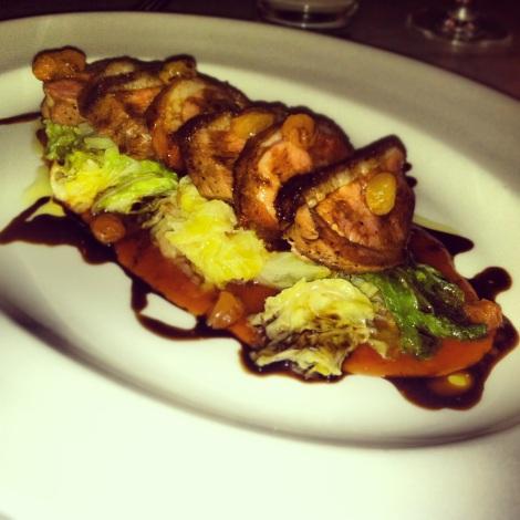 Saba Glazed Duck, Savoy Cabbage, Pickled Golden Raisins, Quince