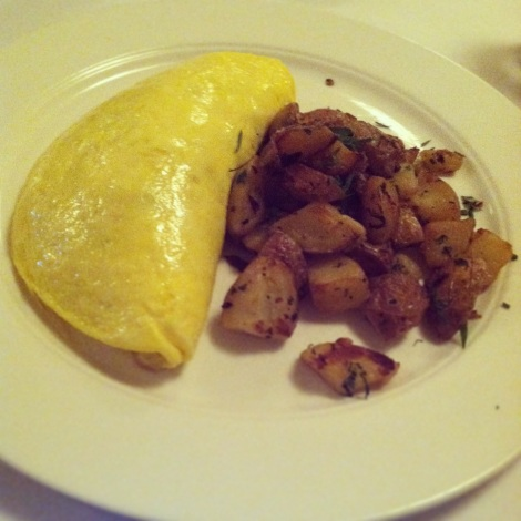 Omelette with Chevre, Spinach, Sauteed Onions and Mushrooms, Hash Browns
