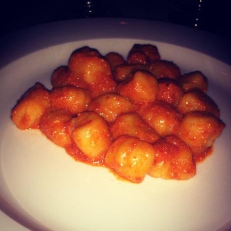 Gnocchi. Spicy Tomato Sauce and Ricotta