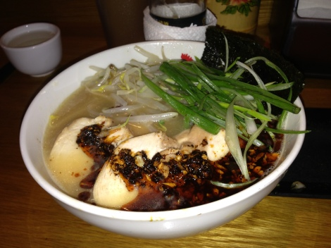 Original Rayu, Spicy Sesame Oil, with a Spicy Kick added to the Original Paitan Ramen with Scallion, Chicken, Bean Sprouts, and Nori.