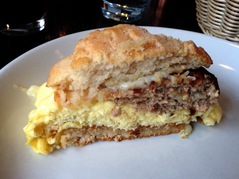 Biscuit Sandwich - Scrambled Eggs, Chicken-Apple Sausage, Cabot Cheddar, Whole Wheat Biscuit, Tomato Jam, Hash Browns