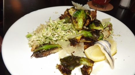 Brussels Sprouts Two Ways (raw/shaved and roasted) in the style of a Caesar Salad