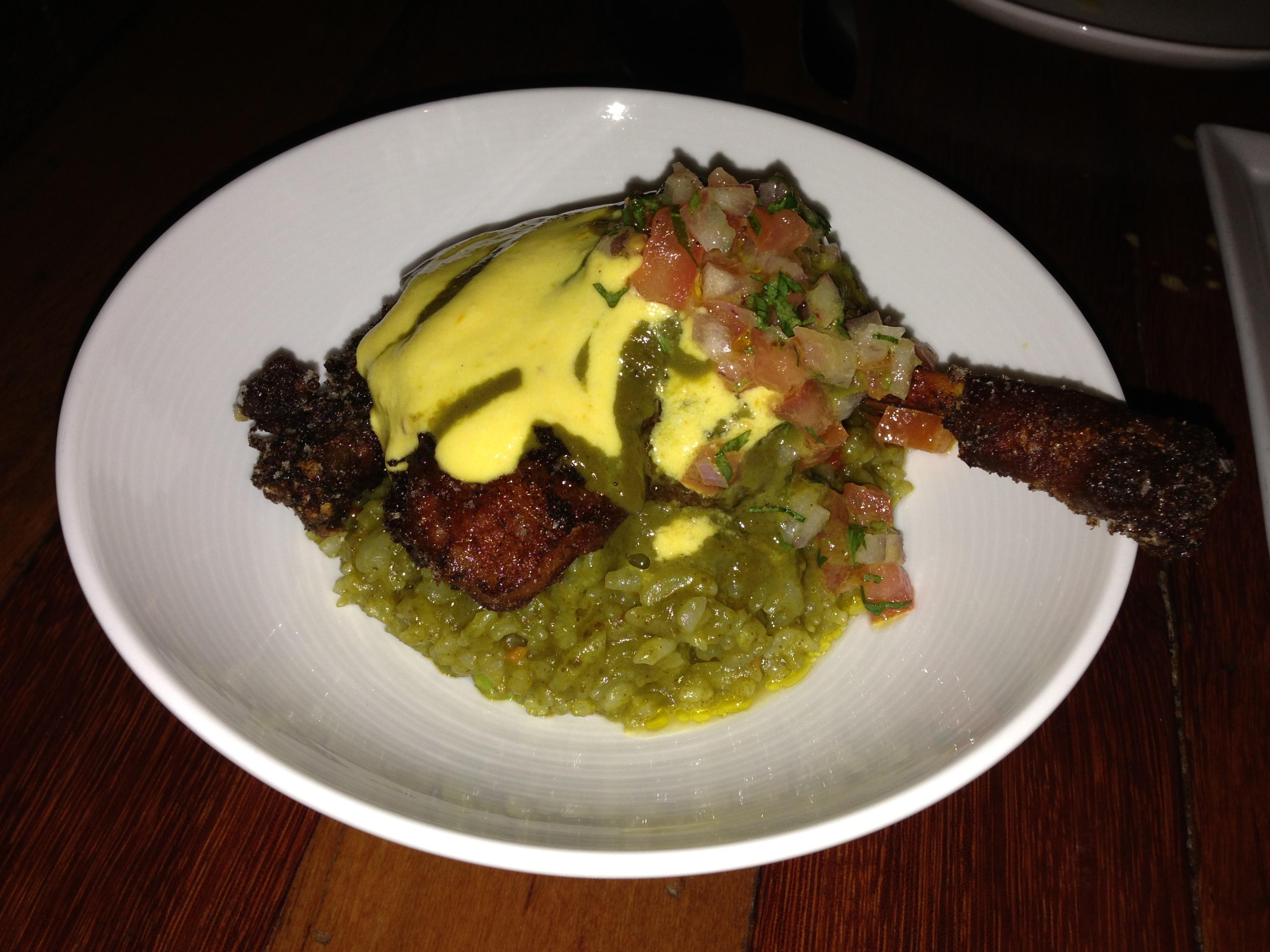 ... Braised Duck Leg, Peruvian Beer Sauce, Cilantro Rice, Tomato Relish