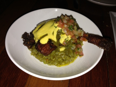 Crispy Braised Duck Leg, Peruvian Beer Sauce, Cilantro Rice, Tomato Relish