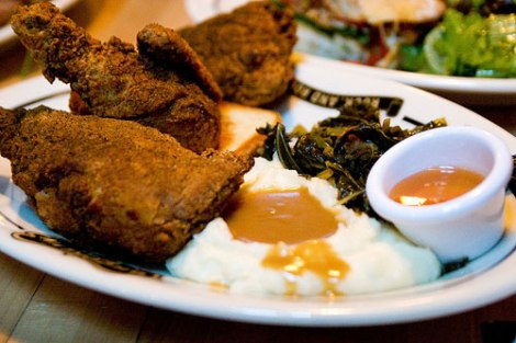 Fried Chicken Dinner - 1/2 Chicken Mix (White & Dark), Mashed Potatoes with Bacon, Collard Greens with Honey and Baconc/o Serious Eats