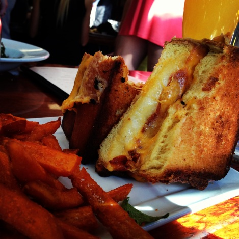 Brioche Grilled Cheese with Cheddar, Provolone and American, Sweet Potato Fries