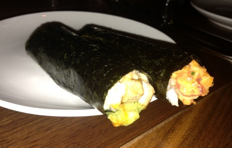 Left - Unagi and Pork Hand RollRight - Spicy Tuna with Crunch
