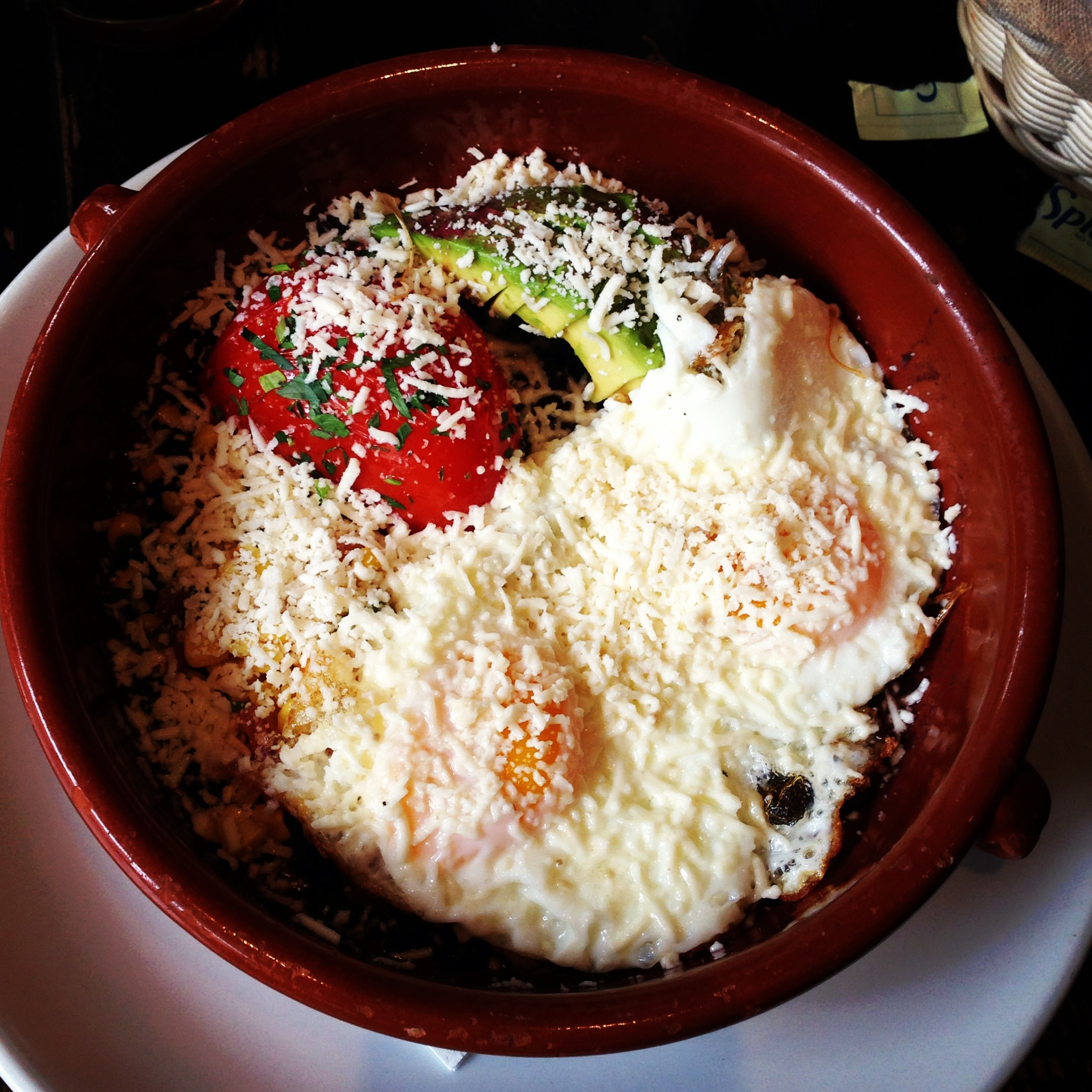 Huevos Rancheros – Sunny Side Up Eggs, Black Beans, Diced Avocado ...