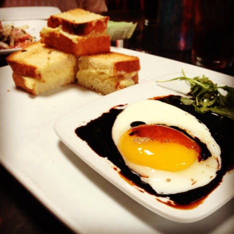 Kaya Toast (Coconut Jam, Butter), Soft Cooked Egg, Dark Soy, Arugula