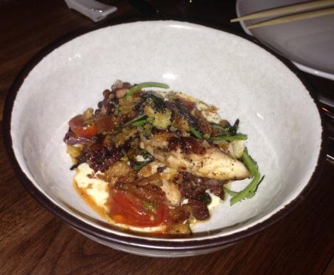 Charred Octopus, Bacon, Lettuce, Tomato, Yogurt