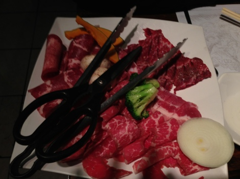 Marinated Short Ribs, Ox Tongue, Pork Belly, Broccoli, Onion, Squash