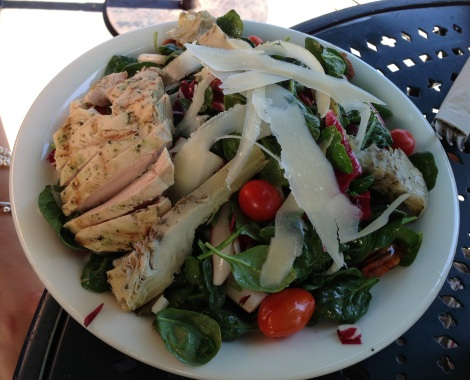 Baby Spinach, Radish, Shaved Parmesan, Cherry Tomatoes, Candied Pecans, Grilled Chicken