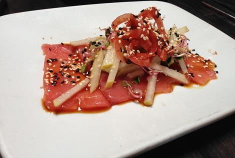 Albacore Sashimi, Yuzu Cream, Pinzu, Pear-Radish-Sprout Salad, Sesame Seeds