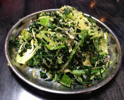 Shaved Kale, Brussels Sprouts, Goat Cheese, Lemon Picada