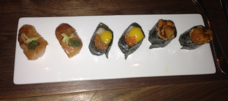 Hamachi with Chicharron and Ginger; Chopped Scallop with Quail Egg and Trout Roe; Chopped Beef with Sea Urchin