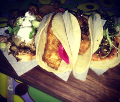 (Left to Right)Moroccan Lamb on Naan - Fried Fish with Mayan Mayo - Crispy Sweetbread with Chickpeas - Korean BBQ