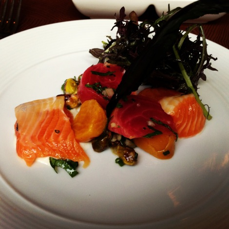 Lightly Cured Arctic Char, Roasted Baby Beets, Candied Pistachios, Horseradish Cream,  Red Mustard Greens