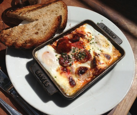 Wood Oven Baked Eggs en Cocotte -- Andalusian: Chorizo and Blistered Peppers