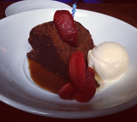 Gingerbread Cake, Caramel Sauce, Spiced and Roasted Plums, Vanilla Ice Cream