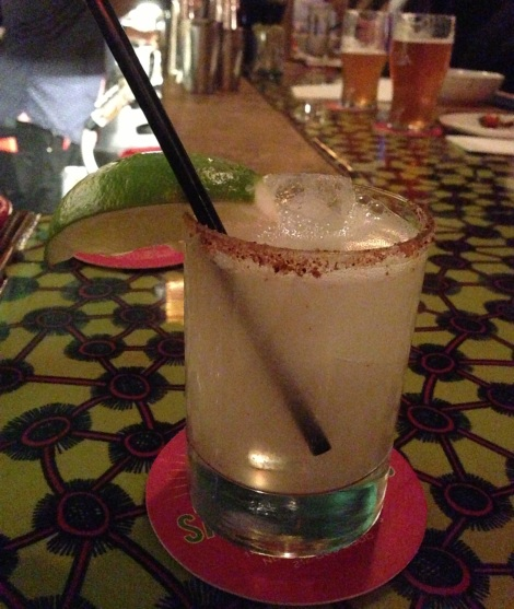 Margarita with Guajillo Chili Salt Rim