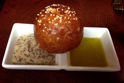 Pretzel with Spicy Grain Mustard, Italian Olive Oil