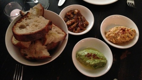 Lily Confit - Shallots, Garlic; Octopus Panissa with Preserved Lemon; Avocado with Lemon and Aleppo